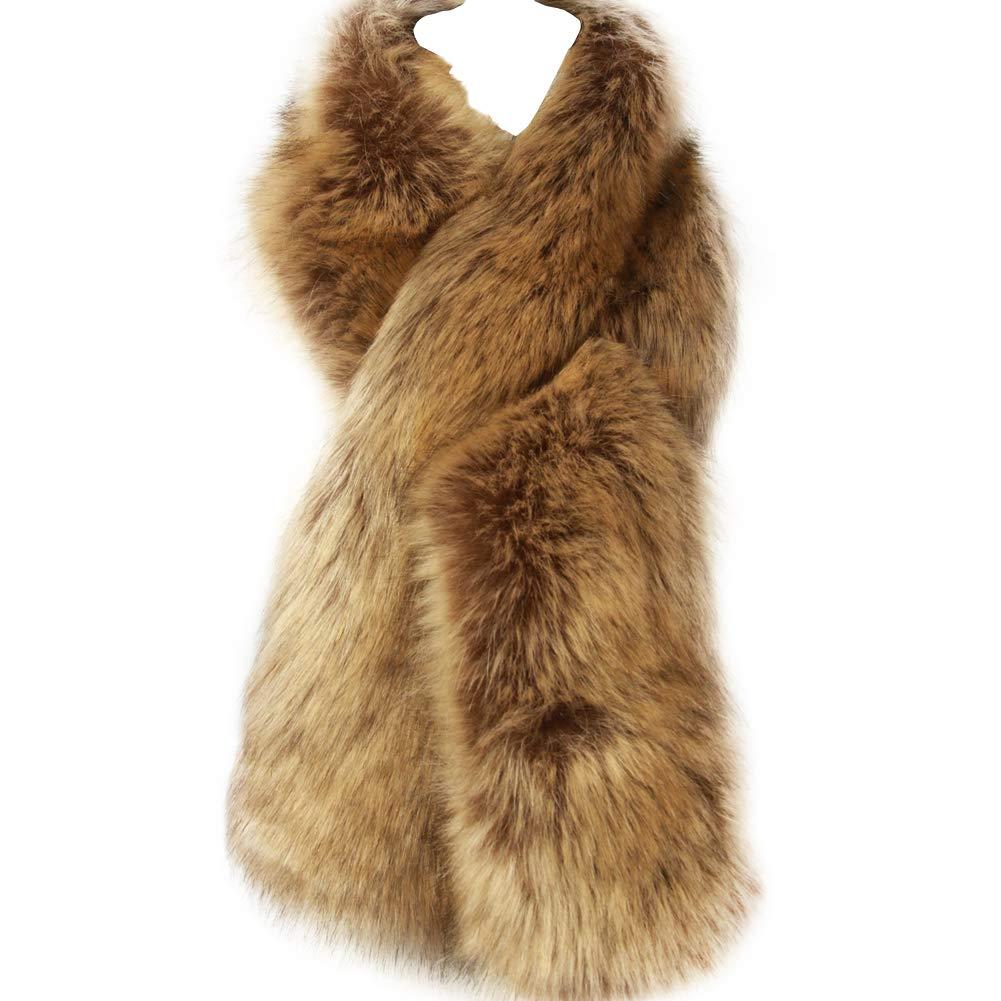 Dikoaina Women's Winter Fake Faux Fur Scarf Wrap Collar Shawl Shrug