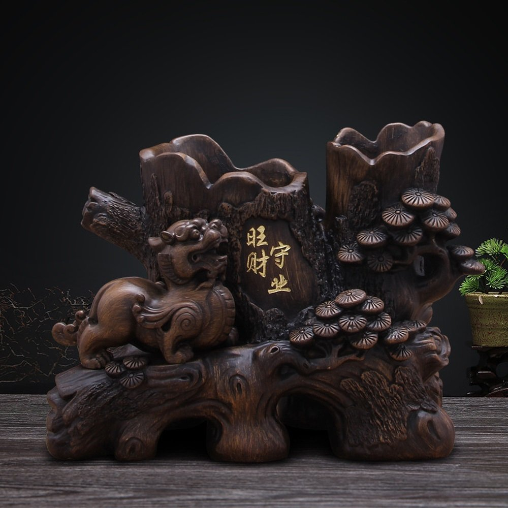 Bwlzsp 1 PCS Shou Ye Qian Cai imitation wood resin handicraft Kirin pen holder ornaments creative gifts LU704450 (Color : Ebony)