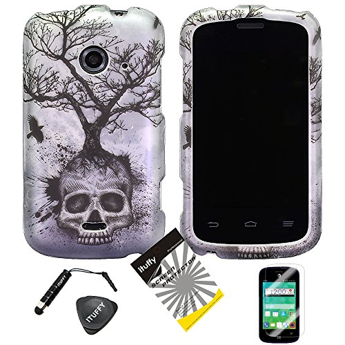 4items Combo: ITUFFY (TM) LCD Screen Protector Film + Stylus Pen + Case Opener + Design Rubberized Snap on Hard Shell Cover Faceplate Skin Phone Case for 2nd Generation ZTE Whirl2 Z667G / ZTE Prelude2 Z667T / ZTE Zinger Z667 (Silver Gray Skull Tree)