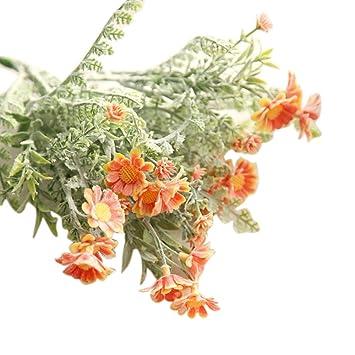 SamMoSon 2019 Flor Artificial para Decoracion Blanca Centro Arreglo Orquidea Hortensia Naranja,Flores Artificiales Falsas Mediados De Crisantemo Floral Ramo ...