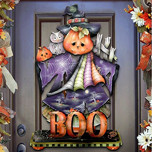"Jamie Mills-Price Halloween ""This Boos For You"" Wooden Indoor & Outdoor Fall Hanging Door Decoration and Wall Sign, For Home, School, Office, Party Decorations #8457407H -"