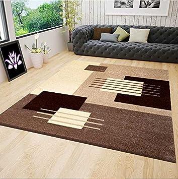 VIMODA Moderner Designer Teppich für Wohnzimmer Konturen in Beige ...