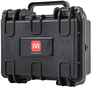 """Monoprice Weatherproof/Shockproof Hard Case - Black IP67 Level dust and Water Protection up to 1 Meter Depth with Customizable Foam, 8"""" x 7"""" x 4"""
