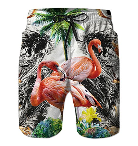 Alistyle Mens Swim Trunks Flamingo Print Beach Shorts Summer Casual Workout Shorts