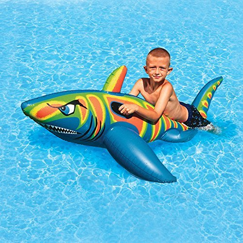72 Blue, Green and Orange Inflatable Swimming Pool Aqua Fun Shark Super Jumbo Rider by Swim Central