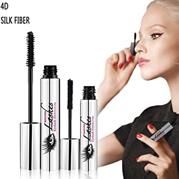 MUPATER 4D Mascara DDK with Fiber Sets Makeup Lash Cold Waterproof Mascara Eye Black Eyelash Extension