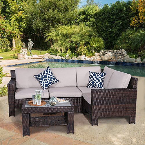 Diensday Patio Outdoor Furniture Sets Sofa Sectional Cushions Chairs Seating Set Conversation Wicker Chair Resistant Weather Couch Sectionals (5-Piece, Beige) -