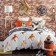 Horses 800TC bedding sets Queen King size Bedlinen printing sheets pillowcases Duvet cover sanding Cotton Fabric , queen