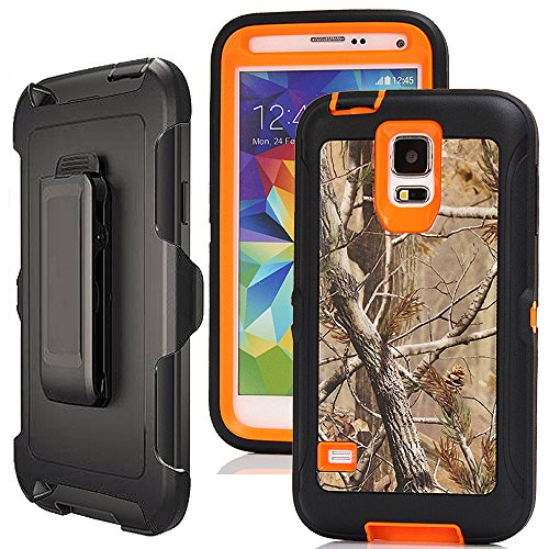Galaxy S5 Case Camo,Harsel Defender Holster Heavy Duty Shockproof Dropproof Tree Design 3 Layer Durable Protection Case w/Clear Screen Protector & Belt-Clip for Samsung Galaxy S5 (Tree Orange)