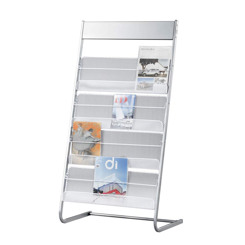 Magazine Rack Aluminum Alloy Brochure Display Rack Book Data Ladder Storage Rack - 4 Layers W63xH140cm by Amelie AI-Magazine organizer (Image #1)