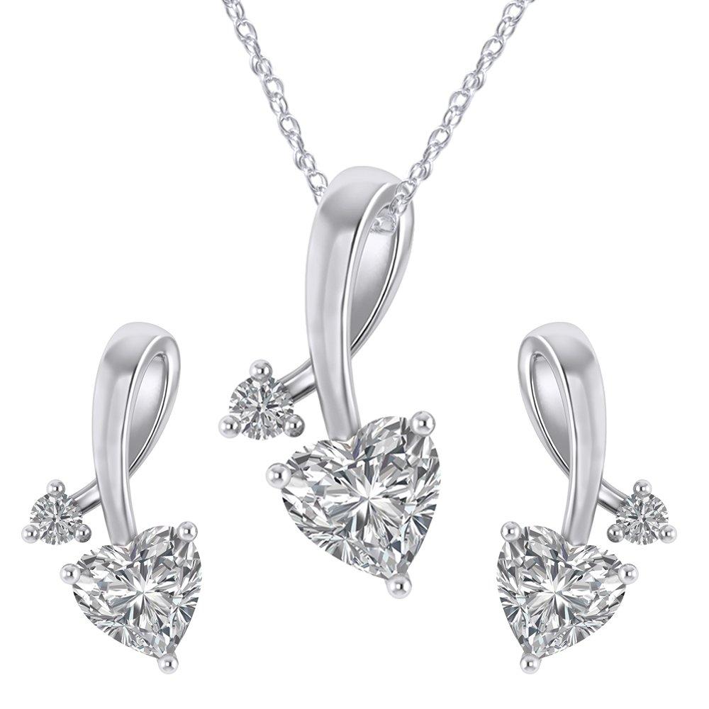 925 Sterling Silver Cubic Zirconia Love Heart Bridal Pendant Necklace Screw Back Stud Earrings Set by Pretty Jewels (Image #1)