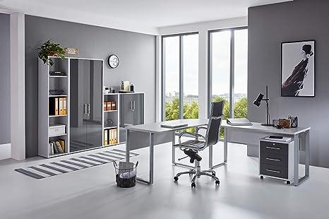 Büromöbel Arbeitszimmer Office Edition in Lichtgrau//Anthrazit Hochglanz Set 5