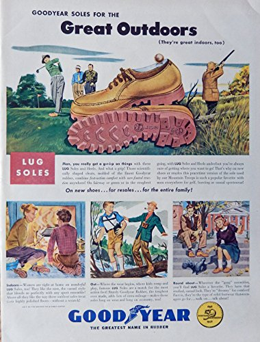 Good Year Shoes. 40's Print ad. Full Page Color Illustration. Fantastic, scarce old ad. (lug soles, 50th anniversary) Original 1948 Life Magazine Art