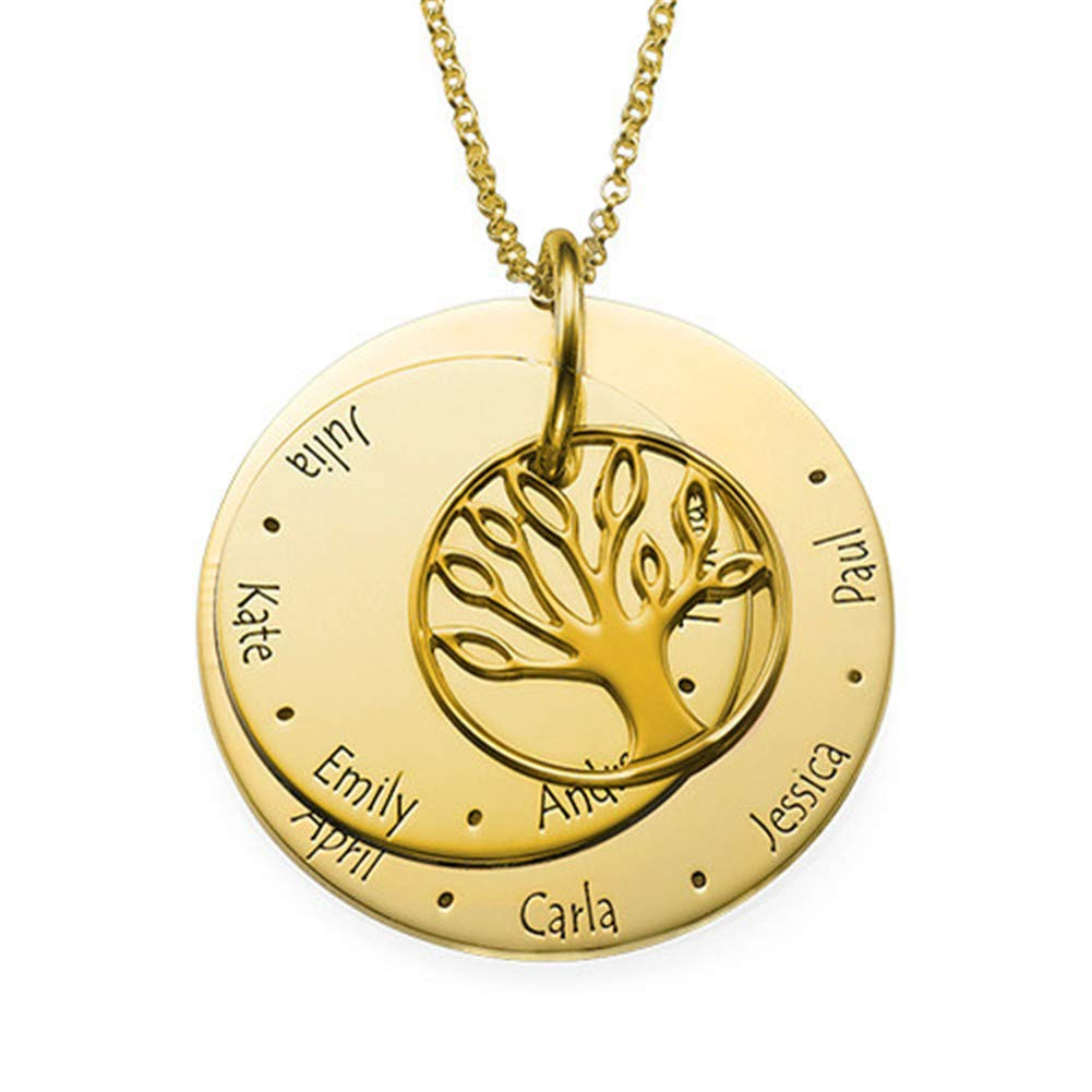 Lovefir Customized Family Tree with Three Pendant Necklace Gift for Your Family Menbers