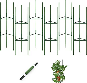 G-LEAF 6 Pack Tomato Garden Cages Plant Cages Plant Stakes Supports for Vertical Climbing Plants, with Plant Clips, Fastening Tapes, Zip Ties