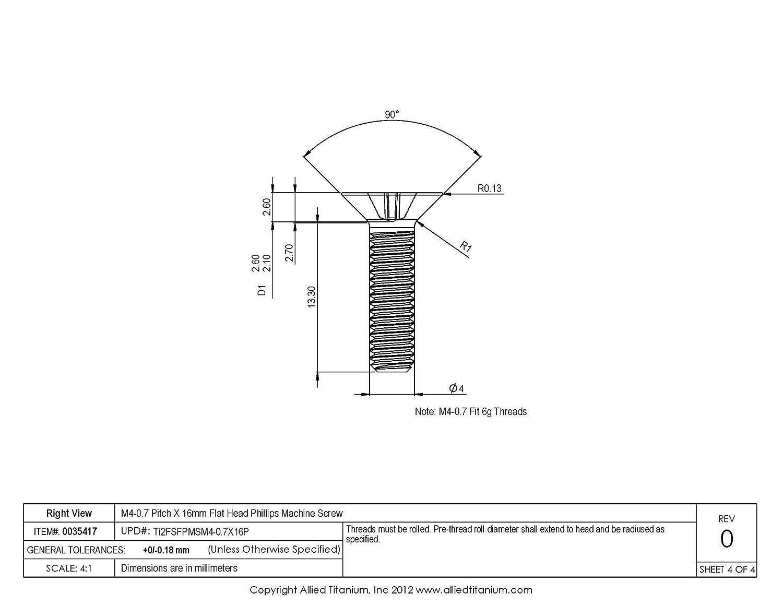 CP Pack of 75 Inc 815988001 Grade 2 M4-0.7 Pitch X 16mm Flat Head Phillips Machine Screw Allied Titanium 0035417,