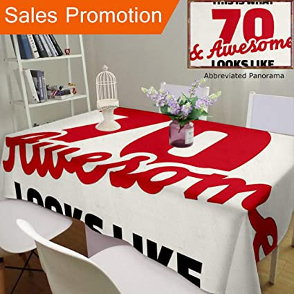 Unique Design Cotton And Linen Blend Tablecloth 70Th Birthday Decorations Motivational Quote Seventy Awesome