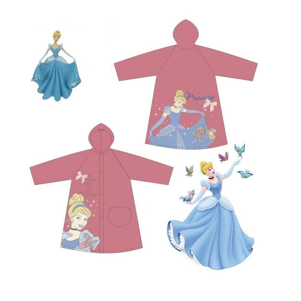 Disney Princess School Children Cartoon Waterproof Hooded Rain Coat Jacket Poncho Raincoat