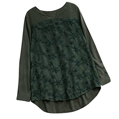 Damen Langarm Lose Shirt Bluse T-shirts Tunika Spitze Tops Hemd-Oberteile Neu