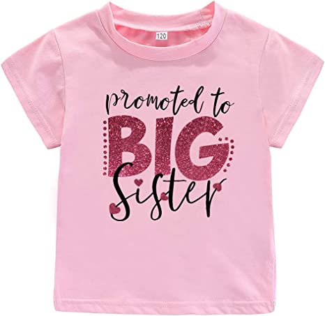 AMMENGBEI Toddler Boys T-Shirt Promoted to Big Brother Letters Print Kids Short Sleeve Tops Blouse 1-6 T