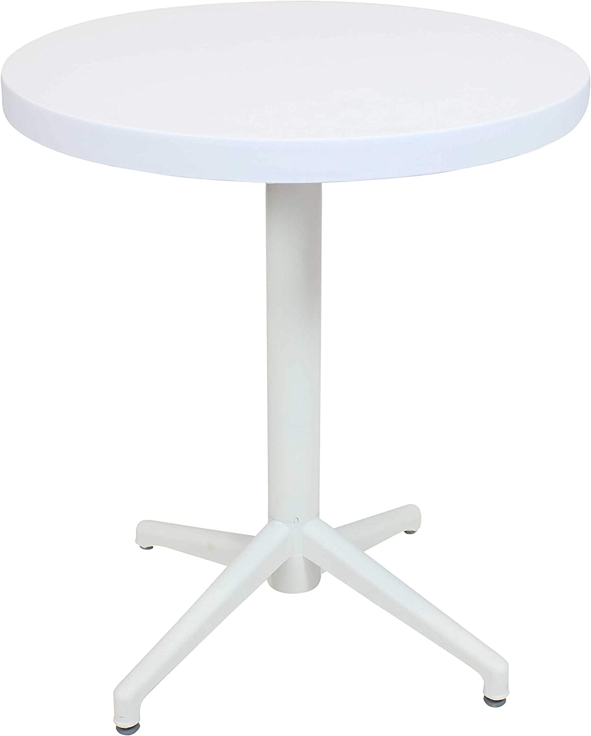 Sunnydaze All-Weather Round Plastic Patio Table - Foldable Design - Commercial Grade - Balcony Deck Dining Room Indoor or Outdoor - White - 28-Inch