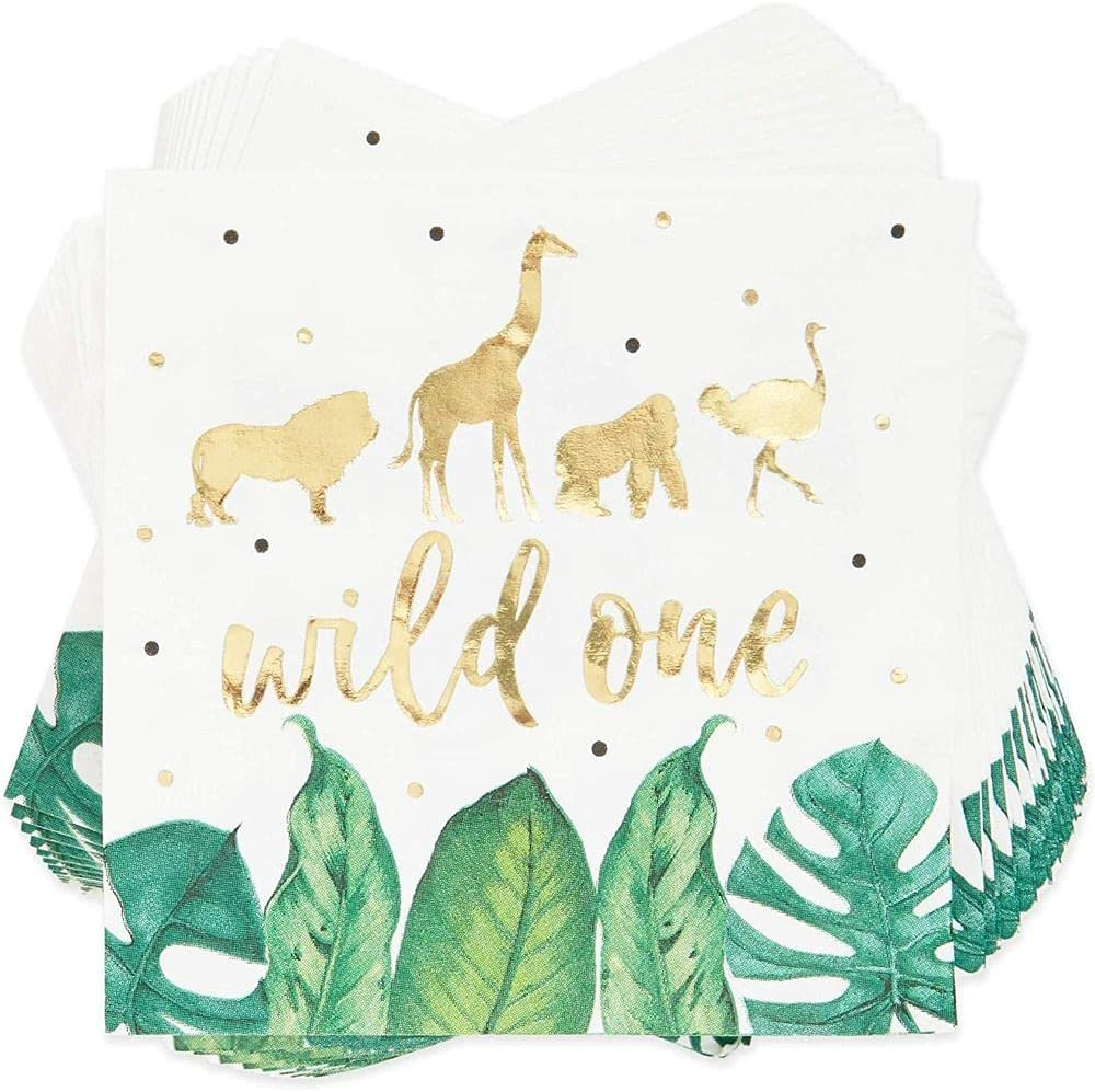 Wild One Safari Birthday Party Paper Napkins (5 x 5 Inches, 50 Pack)