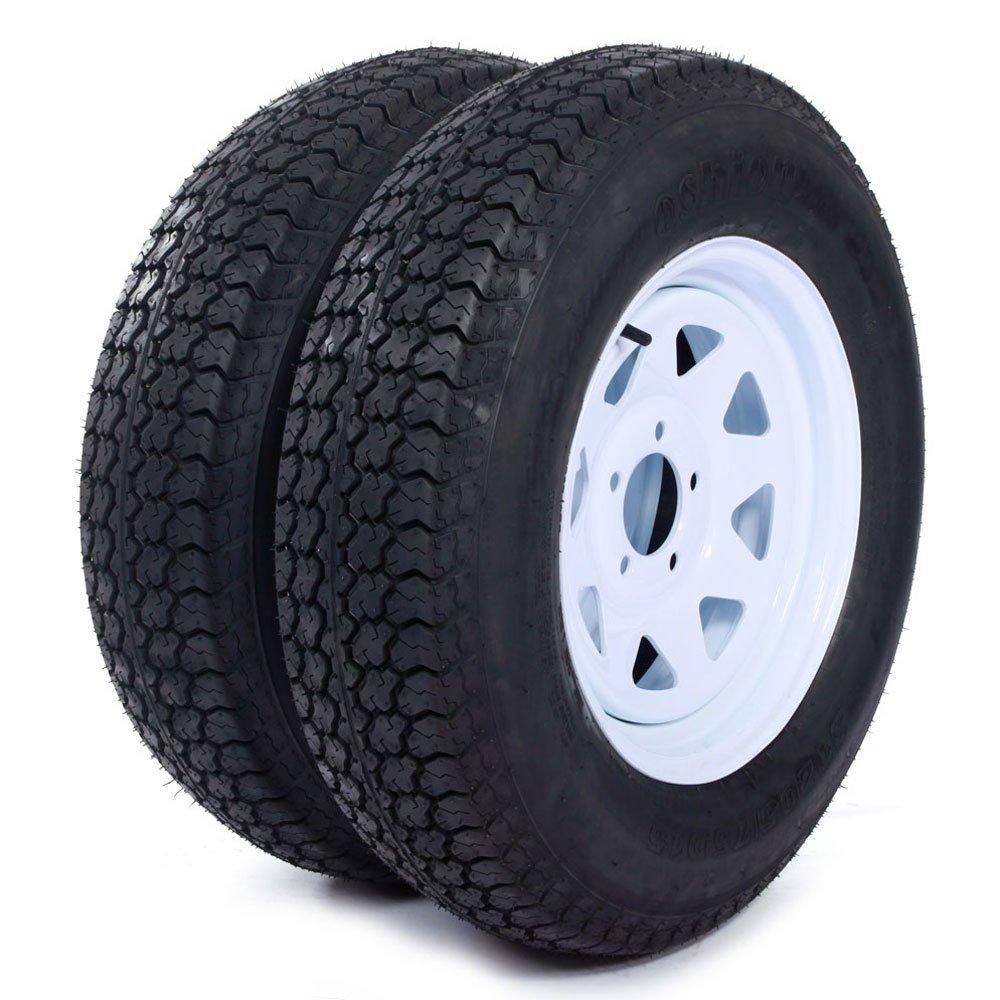 MILLION PARTS 15' White Spoke Trailer Wheel with Bias ST205/75D15 Tire Mounted (5x4.5) bolt circle, Set of 2