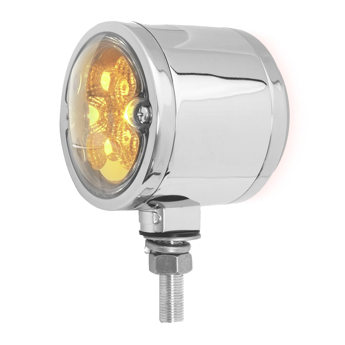 Grand General 78553 Amber/Red Double Faced 16 LED Light with Chrome Die Cast Housing and Clear Lens