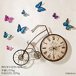 Stylish, Silent Wall Clock HomeRetro Nostalgic Creative Clock Bicycle Wall Clock Living Room Cafe Tea Shop Children's Room Restaurant Wall Decorations, 13 inches, Brown Bicycle Wall Clock + Butterfly