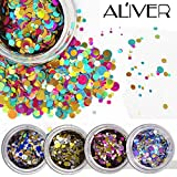 ALIVER Nail Art Glitter Powder Dust Mirror Chrome Effect Dust Shinning Art DIY Magic Holographic Pigment Set with Sponge Stick 12 Colors … (12 color glitter)