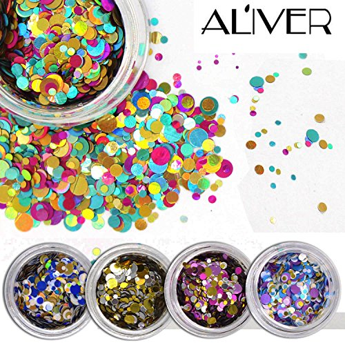 Round Nail Art (ALIVER Nail Art Glitter Shiny Round Ultrathin Sequins Colorful 1mm 2mm 3mm Manicure 3D Nail Decoration DIY Accessories 12 Box)