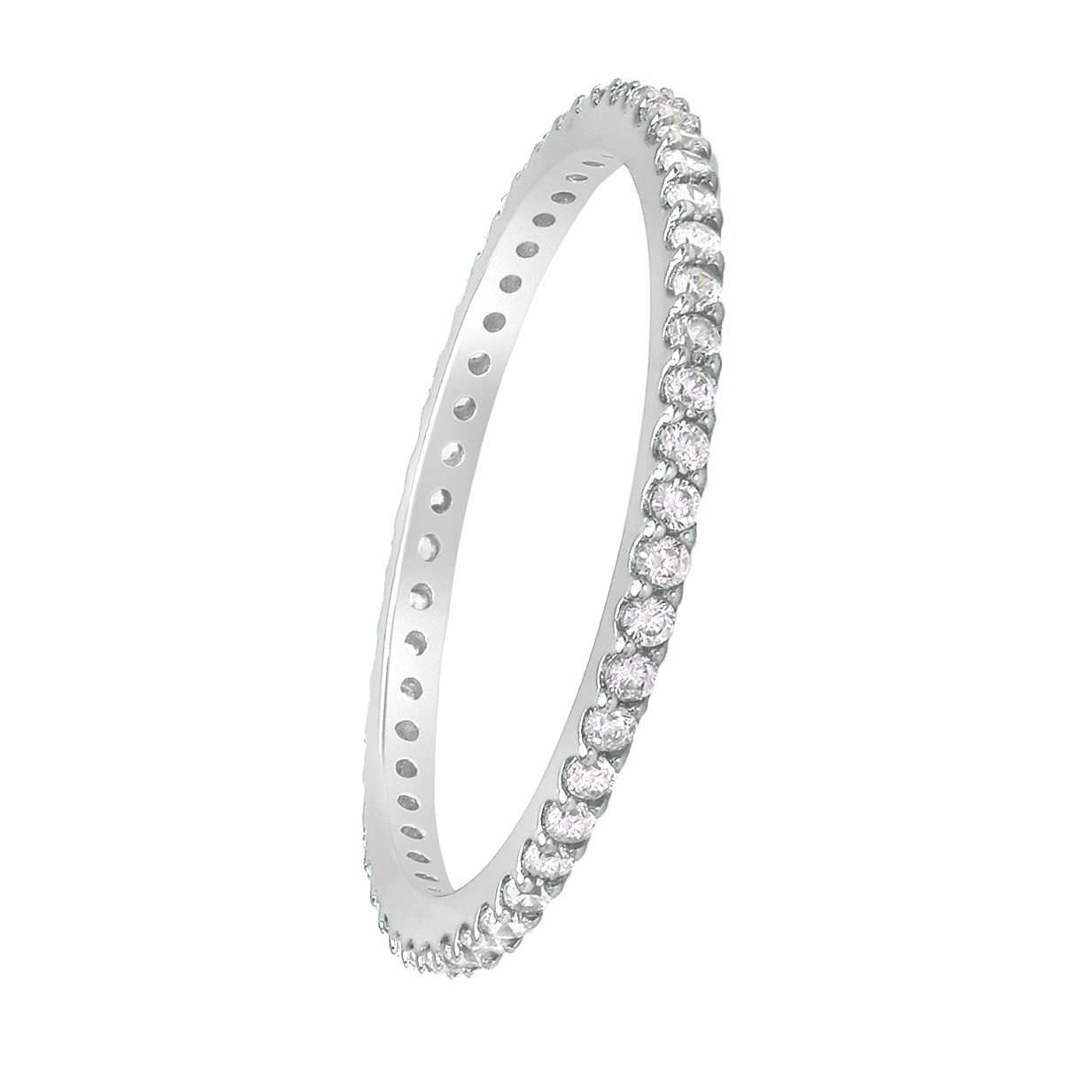 D Jewelry 925 Sterling Silver Micro Pave Eternity Cz Wedding Band Promise Ring Rhodium Plated 1.4mm Stackable (7)