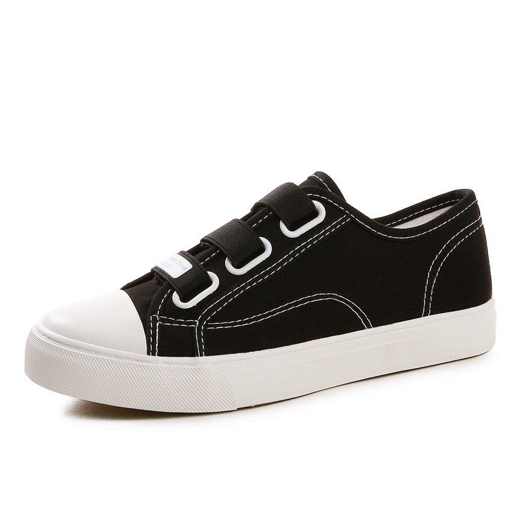 SHI Zapatos de Lona de Las Mujeres - Zapatos Planos de la Correa elástica Transpirable Zapatos de Skate de los Deportes Ocasionales (Color : Black, Tamaño : 35) 35 Black