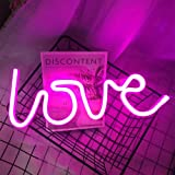 LED Pink LOVE Neon Signs for Wall Decor USB/Battery Operated Night Lights Lamps Art Decor Wall Decoration Table Lights Decora