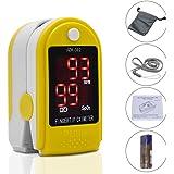 TopHomer Fingertip Pulse Oximeter Heart Rate Monitor Blood Oxygen oxygen Saturation Spo2 sensor Sensor LED Display with Carrying Bag,Landyard & Battery