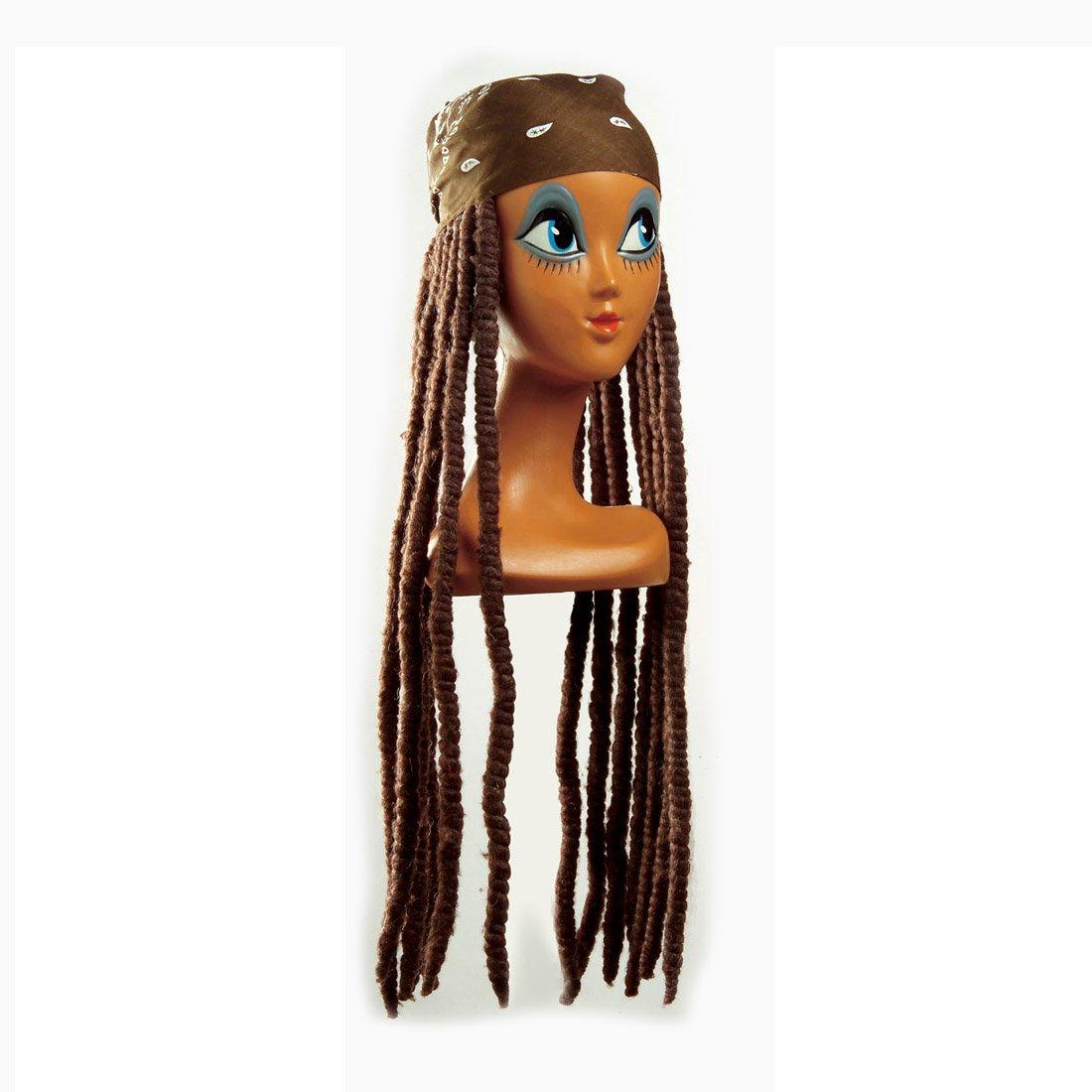 Pañuelo para la cabeza de la peluca marrón con Rasta reggae de la peluca de la peluca de la peluca del Carnaval unisex: Amazon.es: Juguetes y juegos