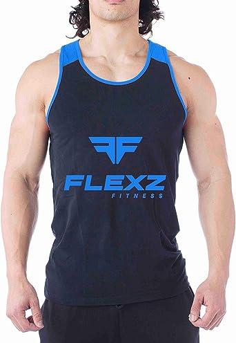 Mens Gym Stringer Vest Sleeveless Bodybuilding Fitness Tank Top 100/% Cotton Blue