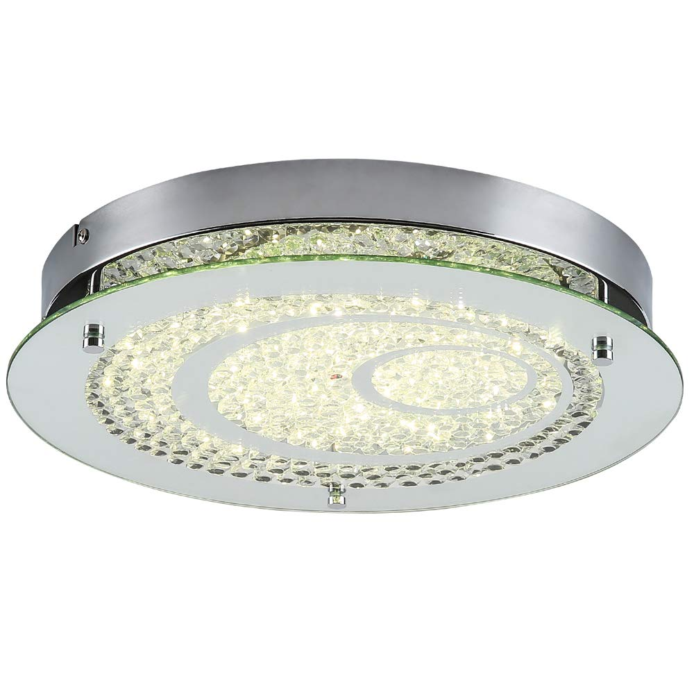 Horisun Dimmable LED Flush Mount Ceiling Light, 100W Incandescent Bulbs Equivalent, 10inch Glass Shade Crystal Bedroom Light, 1200LM 4000K Daylight White for Hallway, Kitchen, Bathroom