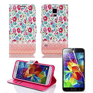 DiaMini Luxury Flip PU Leather Wallet Leather Stand Case Cover For Samsung Galaxy S5 SV I9600 (Flower E)