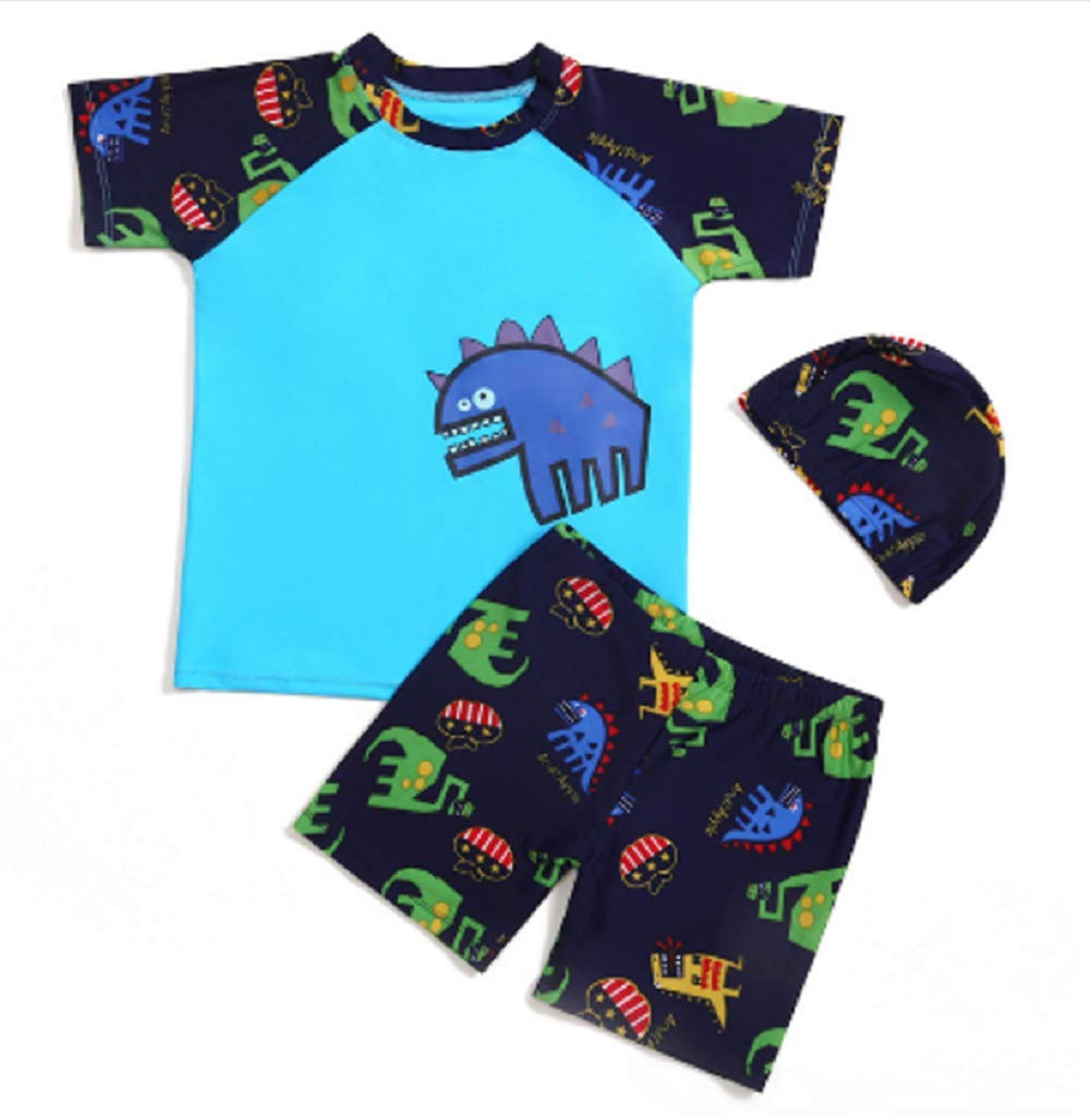 ADream Kids Wetsuit 3 Pcs/Set Children's Long Sleeve Spilt Swimsuits Kids Dinosaur Patterns Sunscreen Wetsuit for Water Sports(Blue)