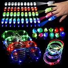 60 PCS LED Light Up Toys Glow in the Dark Party Supplies, Party Favors for Kids with 40 LED Finger Lights, 12 Flashing Bumpy Rings, 4 Bracelets and 4 Flashing Slotted Shades Glasses