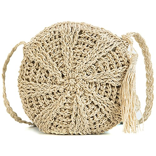 shoulder simple 2018 single personality woven tassel Messenger bag fashion rattan Beige bag XwZTX