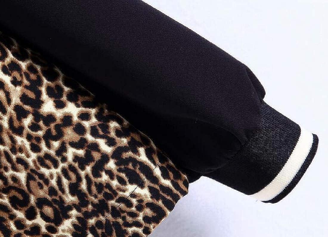 pipigo Womens Patchwork Zipper Casual Leopard Print Pullover Hoodie Sweatshirt Top