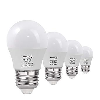Bombilla LED Esférica E27 3 W, Equivalencia de 25 W, Blanco Cálido 3000K,