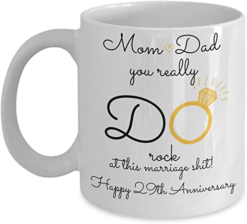 Amazon Com 29th Wedding Anniversary Gift For Parents Mom And Dad Best Happy 29 Th Yr Twenty Ninth Twenty Nine Year Unique Fun Ideas From Kids Son Daughter Co Kitchen Dining