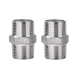 HONGLU Hex Nipple 1/2 Inch Male Stainless Steel 304 NPT Threaded Nipple Pipe Fitting, 2 Pcs