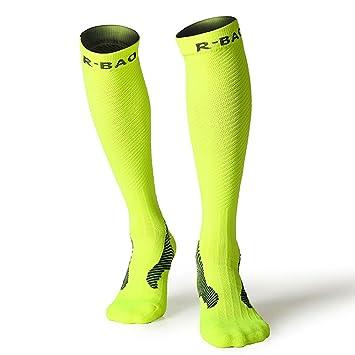 Rong-Bao Calcetines de Compresión para Hombre y Mujer, para Correr, Senderismo,