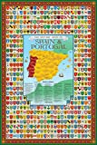Spain & Portugal Family Crest Coat of Arms Map Poster