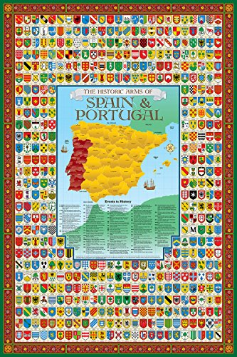 Spain & Portugal Family Crest Coat of Arms Map Poster by Historic Families