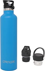 Ezprogear Sport Water Bottle 3 Lids Stainless Steel Travel Portable Double Wall Vacuum Insulated Standard Mouth for Hot and Cold (34 oz, Sapphire)